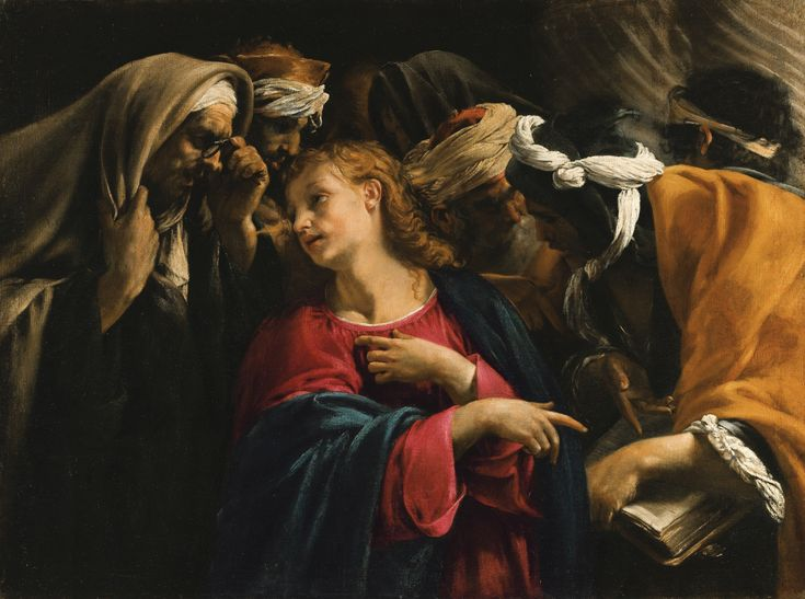 Orazio Borgianni ROME 1574 - 1616 CHRIST AMONGST THE DOCTORS oil on canvas 78.2 by 104.6 cm.; 30 3/4 by 41 1/4 in.