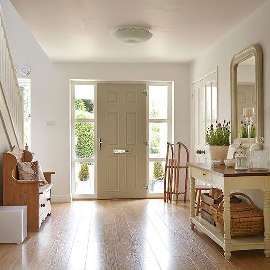 White hallway with painted console table   Hallway decorating   Ideal Home   Housetohome.co.uk