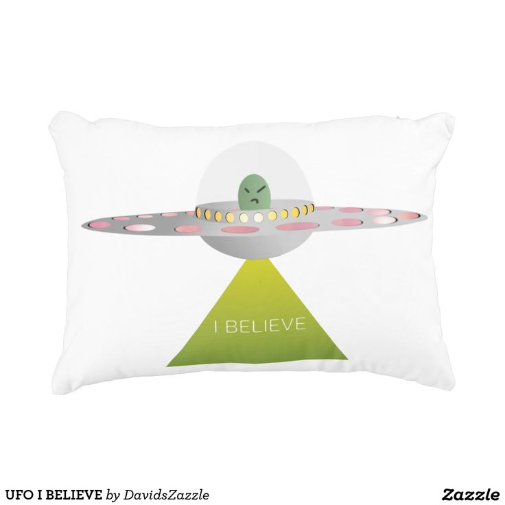 UFO I BELIEVE Throw Pillow  Available on more products! Type in the name of this design in the search bar on my Zazzle products page to see them all!  #ufo #alien #space #outer #universe #ship #flying #saucer #little #green #men #conspiracy #theory #cartoon #illustration #funny #drawing #digital #scifi #science #fiction #buy #zazzle #sale #for #sale #throw #pillow #couch #den #bed #bedroom #accent #home #decor #apartment #dorm #college #student