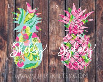 Lilly Pulitzer inspired flower monogram decal 1 by SLrustic