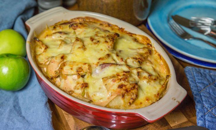 Enkel kassler i ugn med ääple och lök!