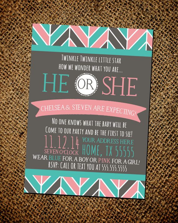 Hey, I found this really awesome Etsy listing at https://www.etsy.com/listing/178417184/gender-reveal-party-invitation