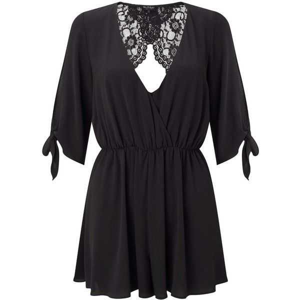 Miss Selfridge PETITE Lace Back Playsuit ($40) ❤ liked on Polyvore featuring jumpsuits, rompers, black, petite, tie-dye rompers, lace back romper, playsuit romper, miss selfridge and long-sleeve rompers
