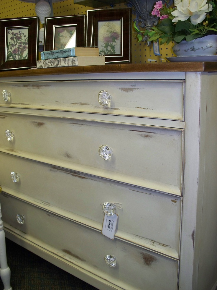 White Distressed Dresser Desk