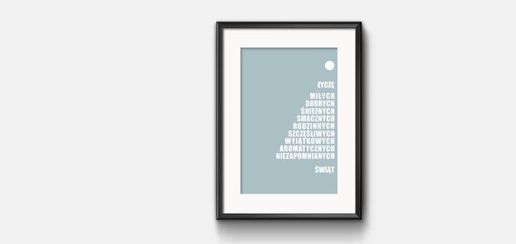 Plakat typograficzny w wersji świątecznej z życzeniami do pobrania za darmo
