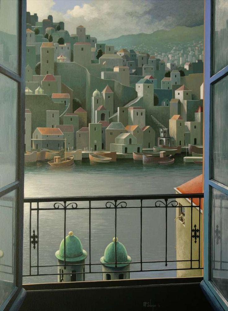 Michiel Schrijver - Schilderijen | michiel | schrijver | expositie | bouwwerken | pilaren | koepels | bogen | linten | vlaggen | borden | picturaal | creatief | verbeelding | buitenwereld