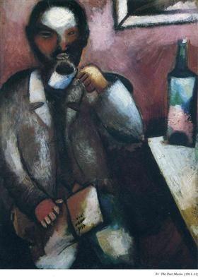 Marc Chagall, (1887-1985) Frans schilder van Russisch-Joodse afkomst, Chagall is de schilder van de stille droom. Zijn werk, verwant aan het expressionisme, geeft de herinnering weer aan de fantasieën, die de mens in bonte mengeling in de droom doorleeft. Als Stalin aan de macht komt, vertrekt Chagall naar Frankrijk en later naar Amerika. Het is uit met de culturele vrijheid in Rusland  - 1912