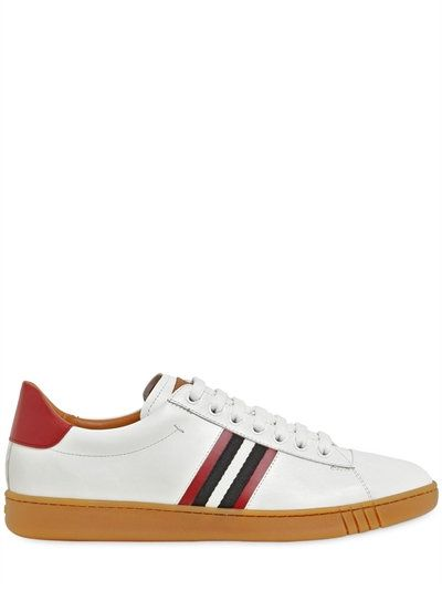 BALLY Striped Webbing Leather Sneakers, White. #bally #shoes #sneakers