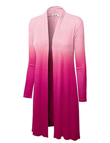 Women's Cardigans - LL Womens Long Sleeve Ombre Open Front Long Cardigan with Stretch  Made in USA *** You can find out more details at the link of the image. (This is an Amazon affiliate link)