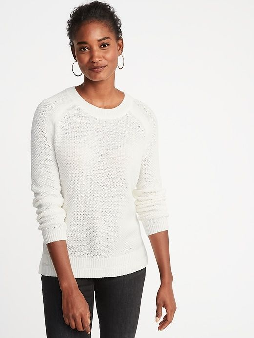 ac37eabe17a9b3 Textured Crew-Neck Sweater for Women