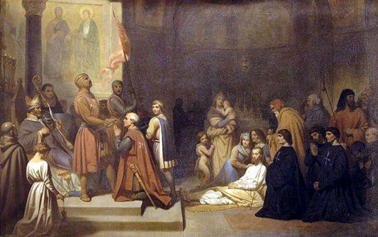 Institution officielle de l'ordre des Chevaliers Hospitaliers  de Saint-Jean-de-Jérusalem le 15 février 1113  (Baudoin Ier, roi de Jérusalem, donnant l'investiture à Gérard le pieux premier grand-maître)
