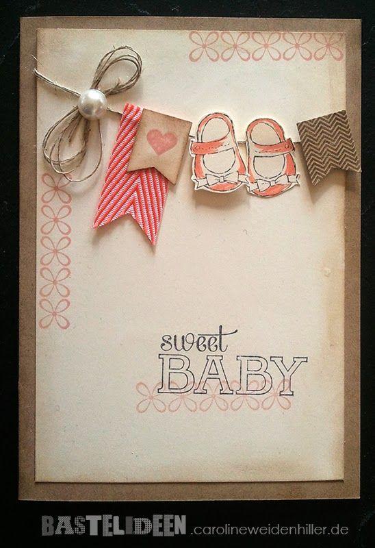 Babykarte Farben: Savanne, Kirschblüte Stempelsets: Im Fähnchenfieber, Etwas ganz Besonderes, Baby We've Grown Stampin'Up