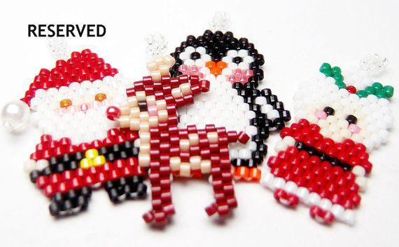 Holiday Bead Set, Seed Bead Santa, Mrs. Claus, Reindeer, Penguin