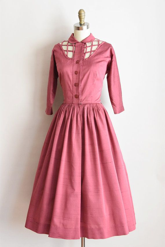 1950s Modest Charm dress/ vintage 50s lattice by seaofvintage