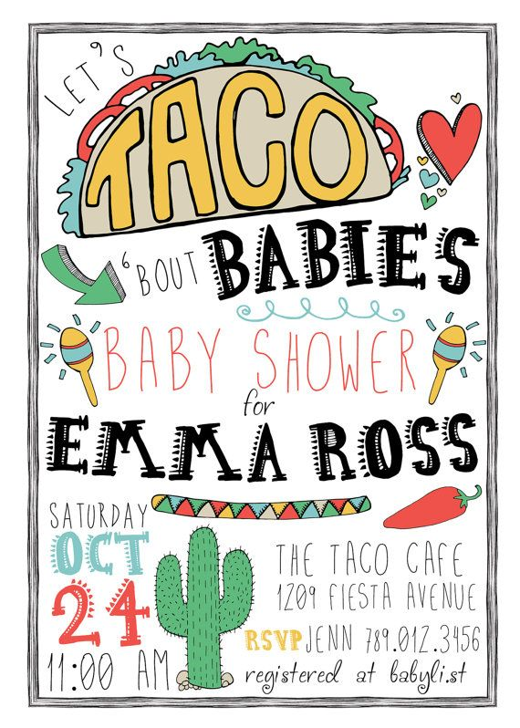 Taco Fiesta Baby Shower Invitation Download, Lets Taco Bout Babies Southwestern Bridal Shower, Taco Tuesday Gender Neutral Invite Printable