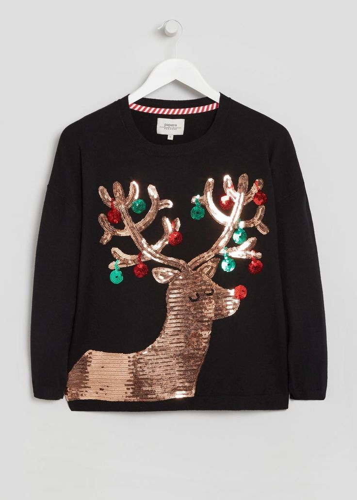 Matalan schwarzer, bestickter Pullover mit Pailletten und Rentier-Motiv (23 €)