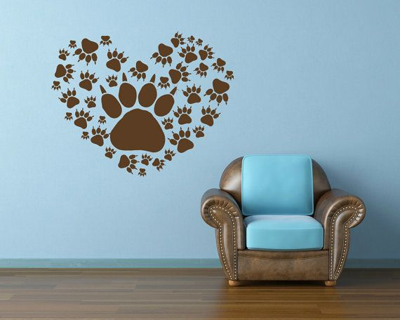 Heart, Animal Prints, Paws, Dog, Wolf  - Decal, Sticker, Vinyl, Veterinarian, Vet Decor on Etsy, $34.00
