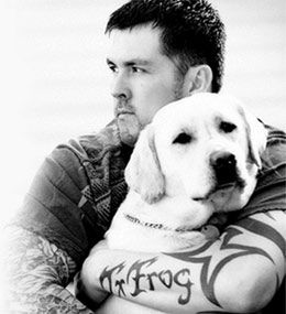 Marcus Luttrell with his dog Mr. Rigby. Luttrell is portrayed in the Lone Survivor war movie by Mark Wahlberg. Learn more about the real soldier: http://www.historyvshollywood.com/reelfaces/lone-survivor.php
