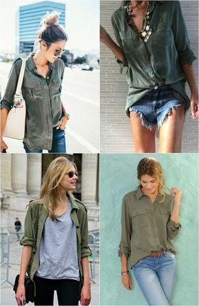 Ai que eu AMO camisa verde militar! Tenho uma velha que dói, mas não desapego dela de jeito nenhum! A minha é bem básica, com – putz, esqueci de novo o nome daquela fitinha que segura a manga rsrs – a tal tirinha, botões na mesma cor da camisa e de tecido mais leve. Só …