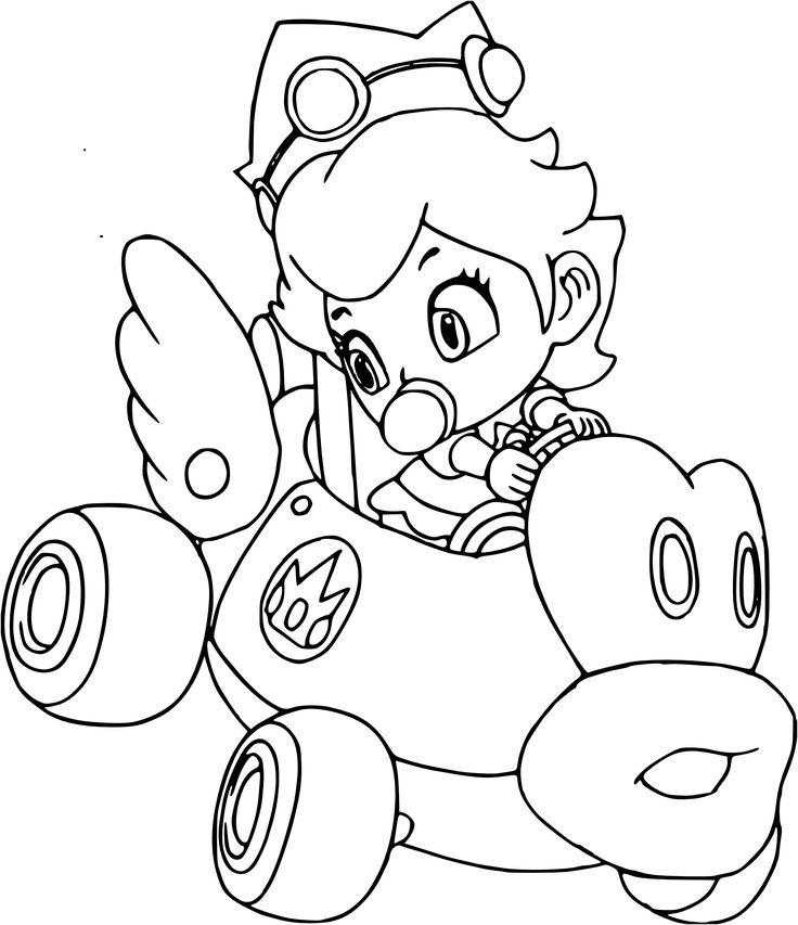 Coloriage Peach Mario Kart à imprimer en 2020   Coloriage ...