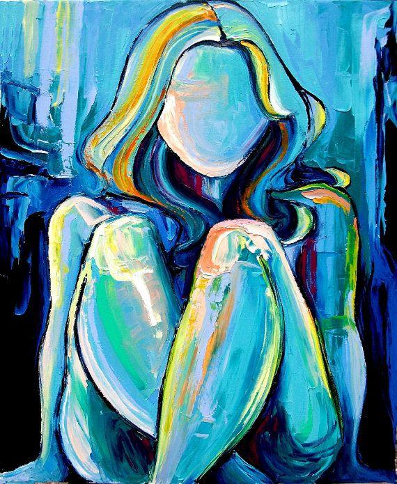 "Original oil painting nude abstract impasto female figure by Aja-ann Apa-Soura "" Blue "" 24x30"