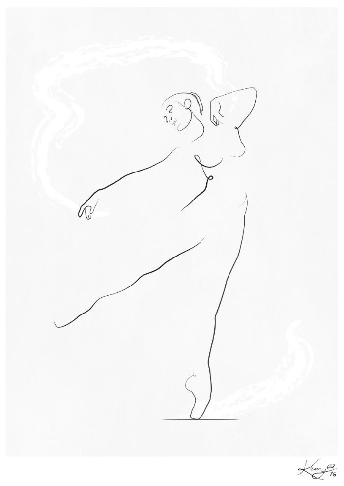 'Reach', Dancer Line Drawing Art Print by Kerry Kisbey | Society6