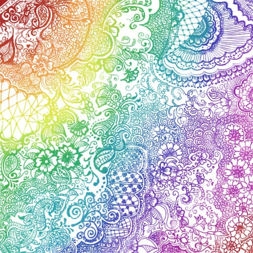 rainbow henna design....what artistic skills are needed for this I don't have.  Depending on medium, lace colored chalk