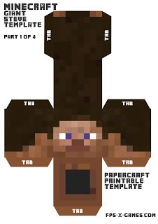 Minecraft giant Steve head papercraft template 1-4