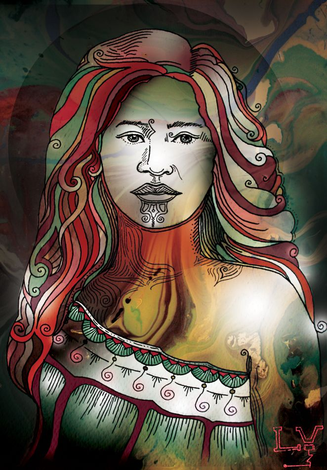 mixed media, maori woman