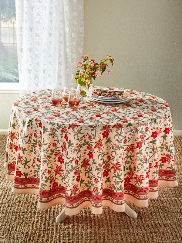Colorful Red Fl Round Country Table