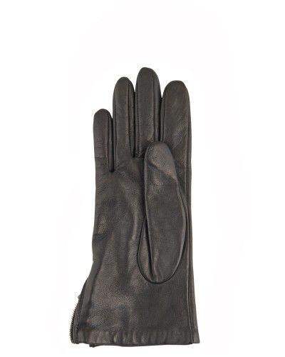 Gant cuir noir - originalité acceptée :) -> noeud ou zip