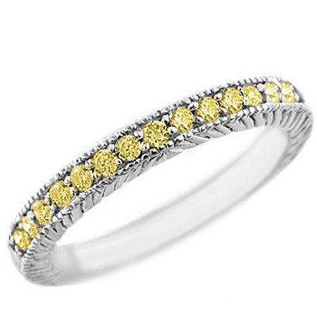 1/4 Carat Fancy Canary Yellow Diamond Wedding Band Ring Solid High Polished 14k White Yellow Rose Pink Gold Vintage Antique Style on Etsy, $379.00