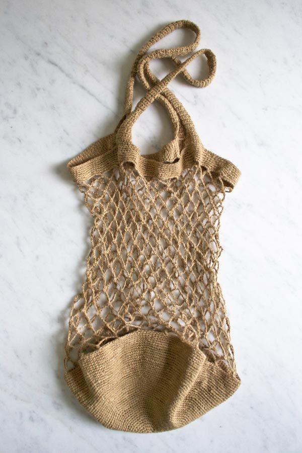 DIY: linen market bag #Crochet ༺✿ƬⱤღ  https://www.pinterest.com/teretegui/✿༻