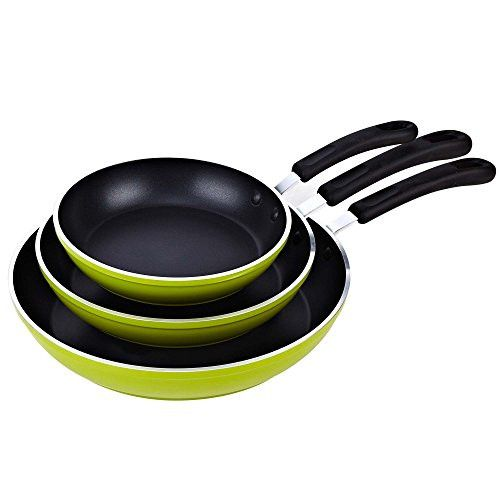 Cook N Home 8 to 10 to 12-Inch Frying Pan/Saute Pan 3-Piece Set with Non-Stick Coating Induction Compatible Bottom, Large, Green