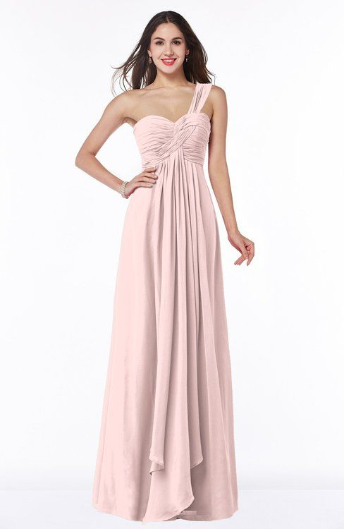 Pastel Pink Elegant A-line Asymmetric Neckline Chiffon Floor Length Ruching Plus Size Bridesmaid Dresses