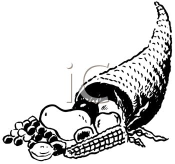 Royalty Free Clipart Image of a Horn of Plenty