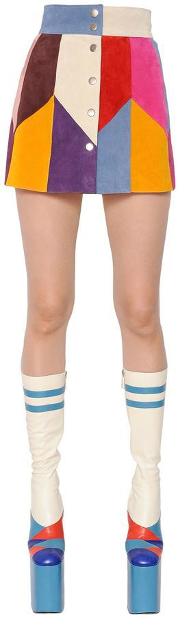 Marc Jacobs Rainbow Patchwork Suede Mini Skirt