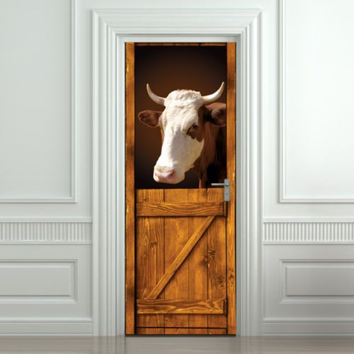 Door-Wall-or-Fridge-STICKER-Cow-in-Old-Stall-Barn-mural-decole-cover