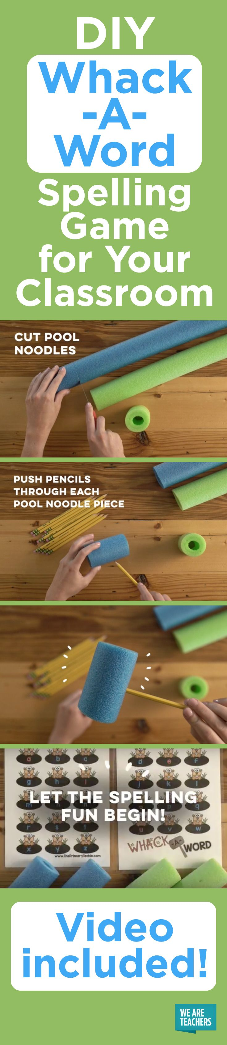 Practice spelling with this interactive spelling game for grades K-3 using pool noodles and a projector. It's a teacher review hack at its finest!