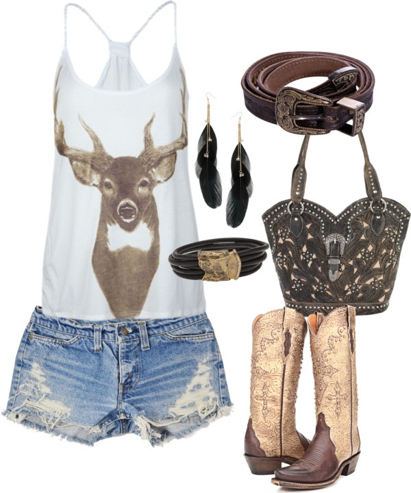 Country outfit deer tank cut off shorts cowgirl boots brown belt feather earrings jewelry shoes