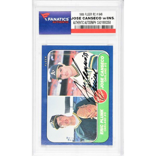 Jose Canseco Oakland Athletics Fanatics Authentic Autographed 1986 Fleer #649 Rookie Card with Juiced Inscription - $49.99