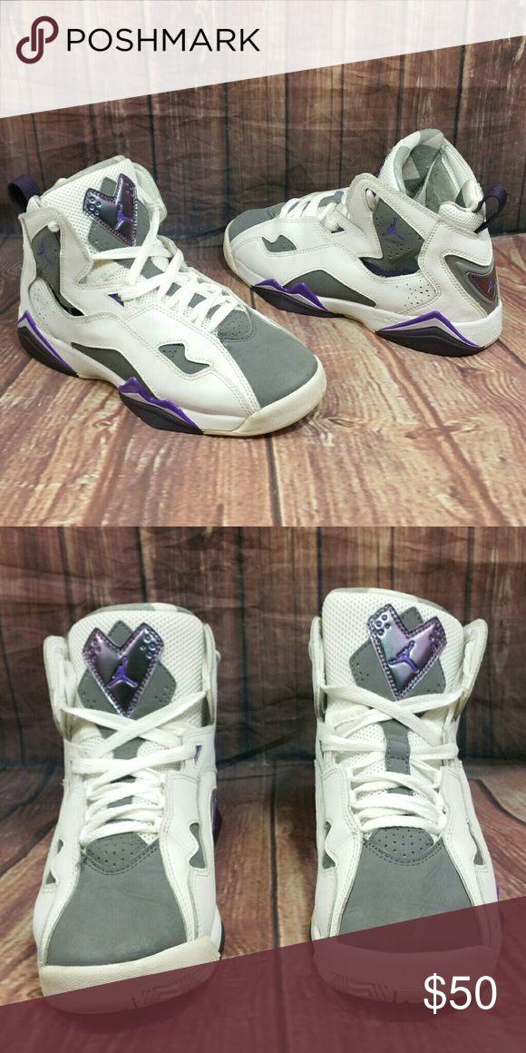 9b0615f6df93 ... flight silver  NIKE Air Jordan True Flight GS White Purple Shoes Women  s sz 7.5 Youth Sz 6.5 ...