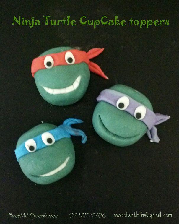 Fondant Ninja Turtle cupcake toppers For orders email Sweetartbfn@gmail.com or call 0712127786.  Follow us on Facebook:  https://www.facebook.com/groups/SweetArtCakesBloemfontein/