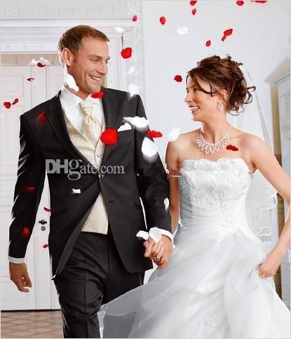New Style Custom Made Slim Fit Bottons Groom Tuxedos Side Slit Best Man Suit Wedding Groom Wear Bridegroom Jacket+Pants+Tie+Vest Mens Tux Shirt Mens Tux Shirts From Elsameaning, $69.15  Dhgate.Com
