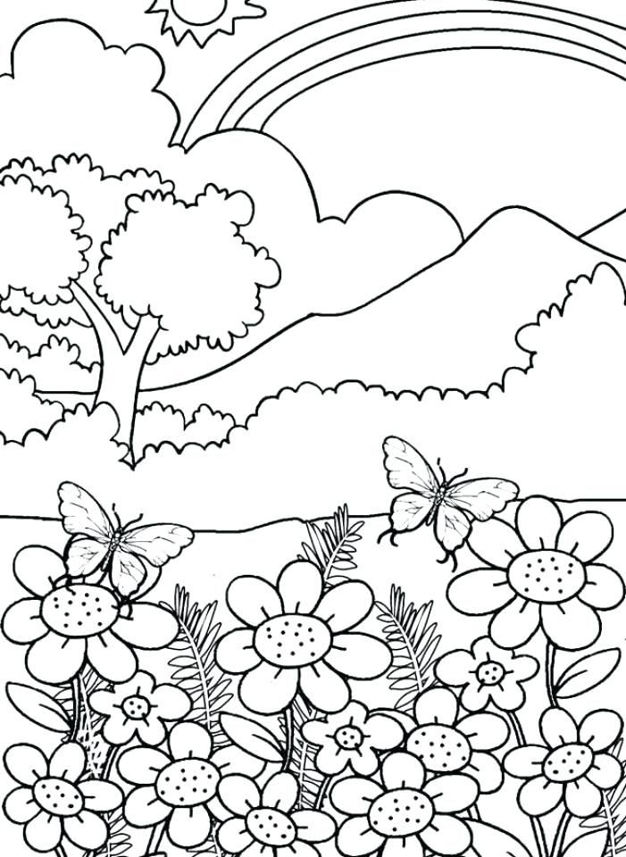 Flowers And Rainbow Printable Coloring Page Coloring Pages