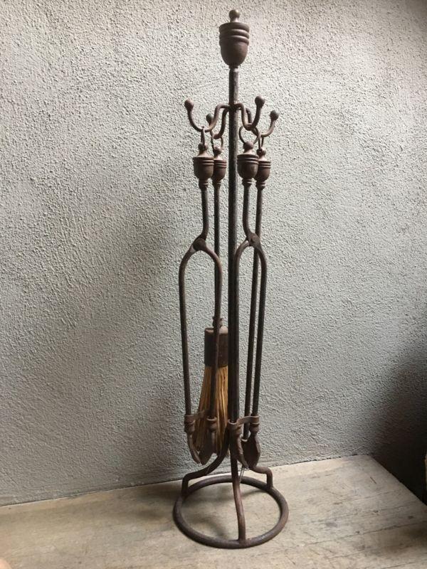 Smeedijzeren haardstel haardset pook open haard kachel openhaard veger knijper landelijk metaal metalen