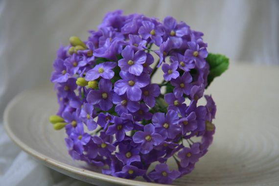 Handmade Clay Purple Hydrangea Bouquet CF0022 by GiftsGallery, $80.00