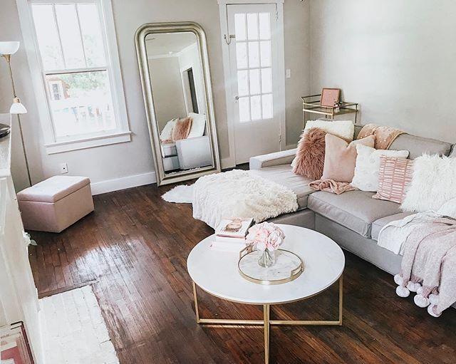 Gray Blush White And Gold Living Room Glam Living Room Decor