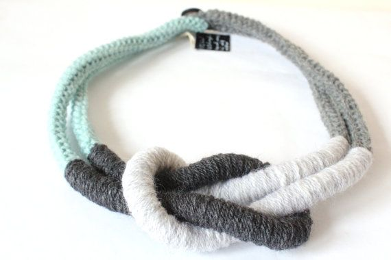 Knitting necklace. Chunky necklace. Statement by MyTinyTree, $24.88