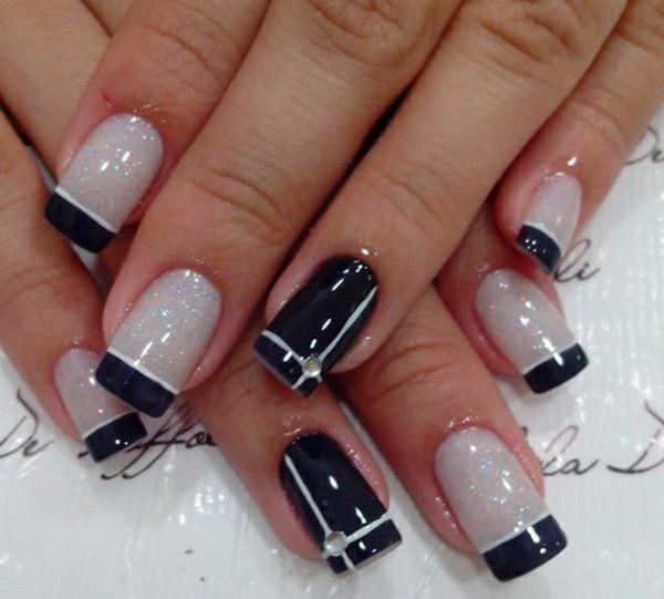 nail art schwarz weiß nagellac